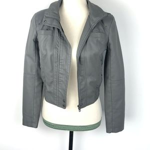 Guess Faux Leather Grey Moto Hood Jacket SZ Small